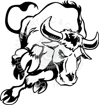 clip art black and white download Cool charging bull