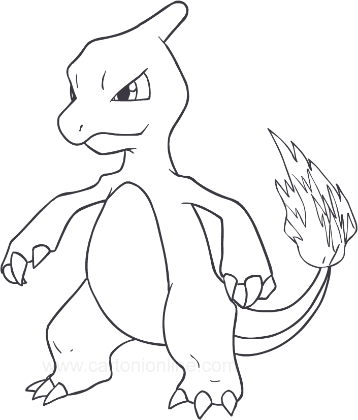clip royalty free library Drawing Charmeleon of the Pokemon coloring page