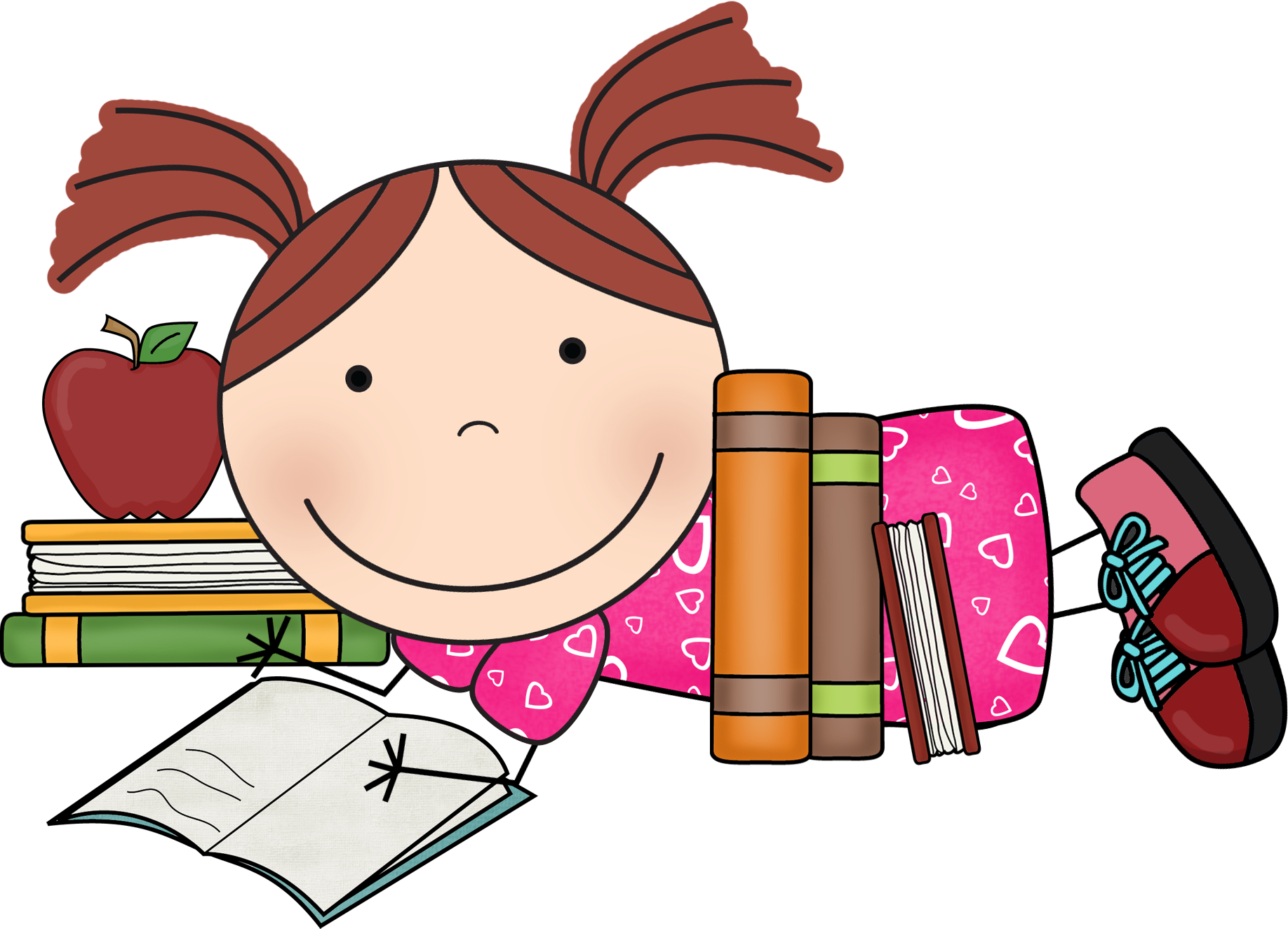 vector freeuse library Reading susie png clip. Lazy kid clipart