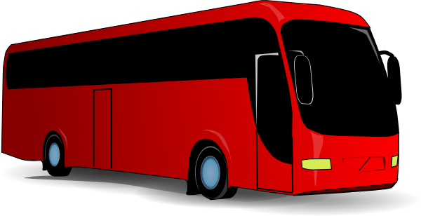 graphic black and white library Red Travel Bus Clip Art at Clker