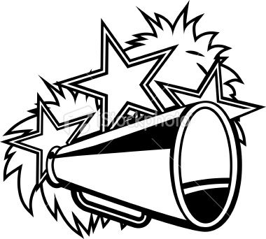 jpg black and white stock Cheer megaphone and poms clipart. Black white cheerleader pompoms.