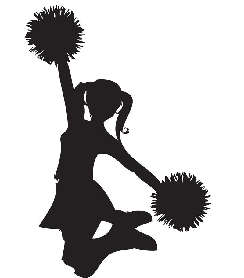 transparent download Clip art black and. Cheerleader clipart.