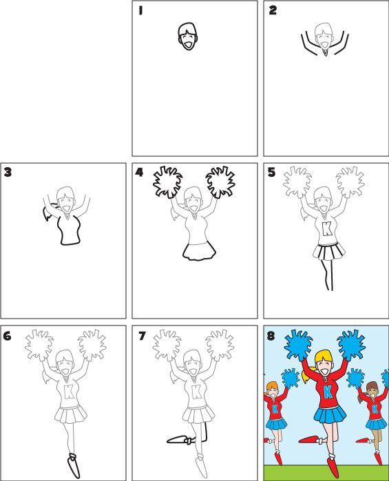 graphic library stock cheerleaders drawing step by #132905229