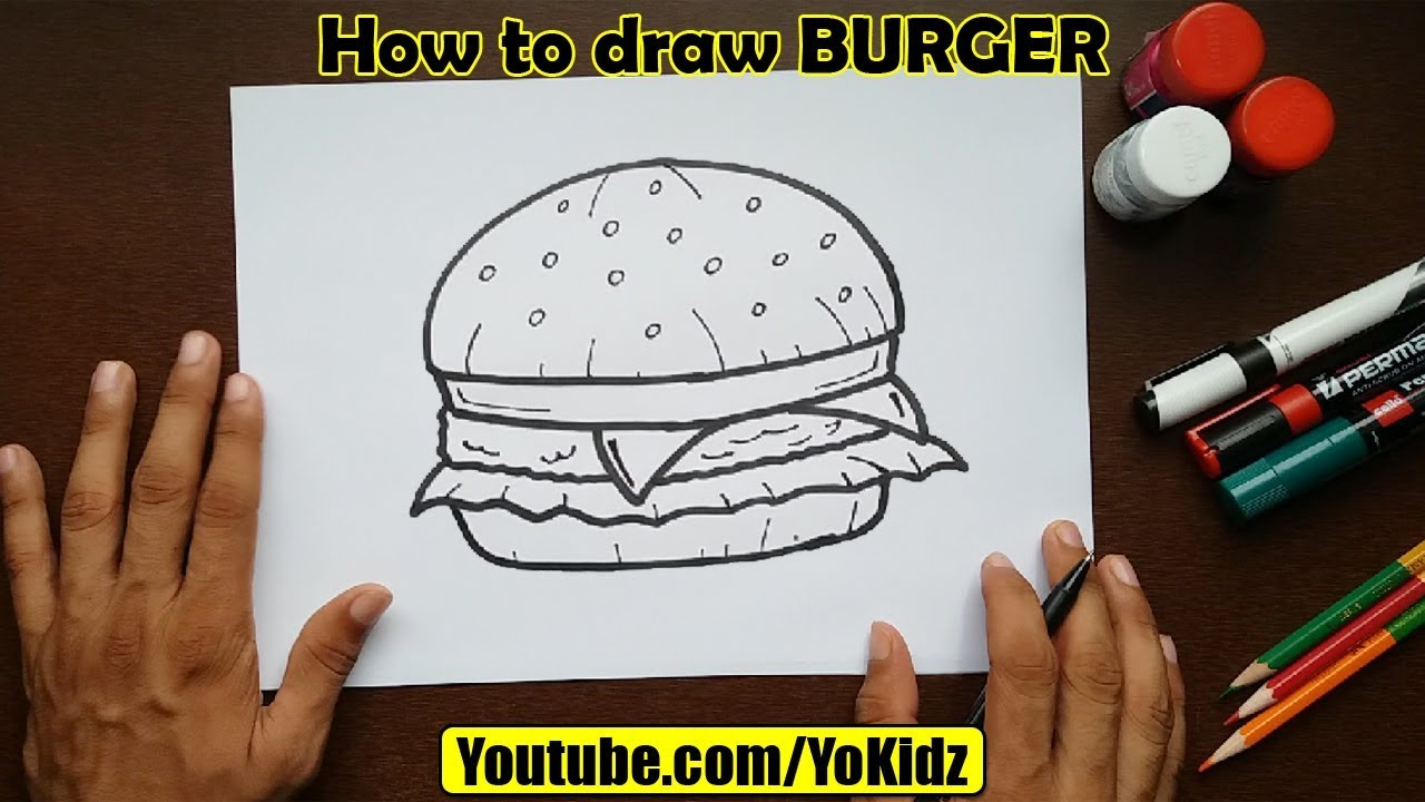 free How to draw BURGER