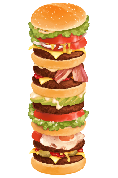 clipart royalty free download Cheeseburger drawing realistic. Quadruple stack food illustrations