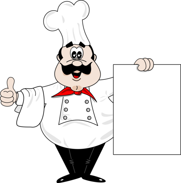 png transparent library Chef with blank sign. Chefs clipart.