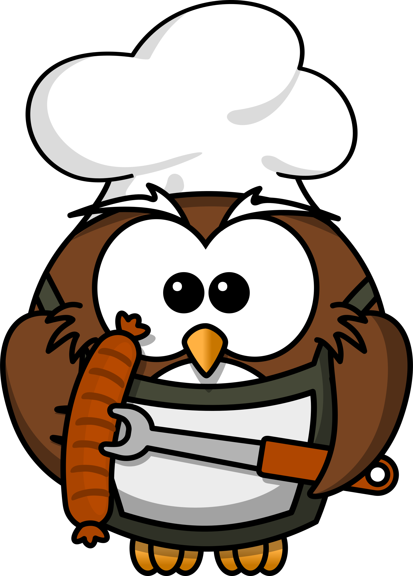 jpg black and white library Owl with sausage by. Grilling clipart chat