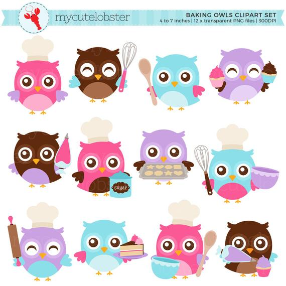 banner library Chefs clipart owl. Baking owls set clip.