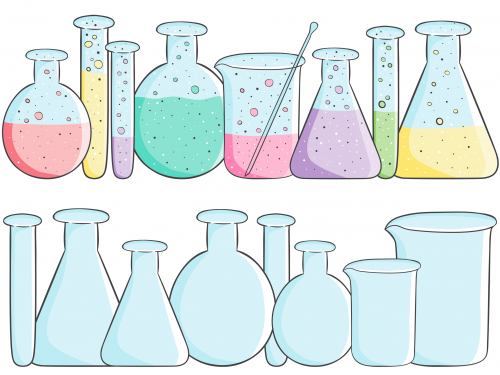 vector library stock Beakers empty full science. Chemical clipart school.