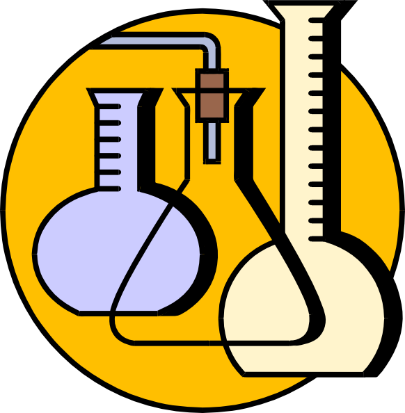 black and white stock Lab equipment clipart. Chemical flasks clip art