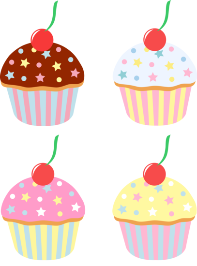 image transparent download Four Cupcakes With Cherries and Sprinkles