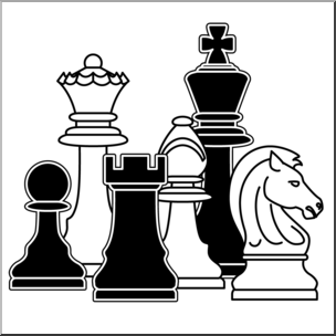 jpg black and white library Chess clipart. Clip art pieces b.