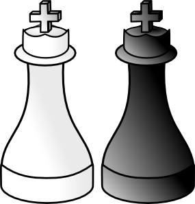 vector black and white library Black and white kings. Chess clipart indoor game.