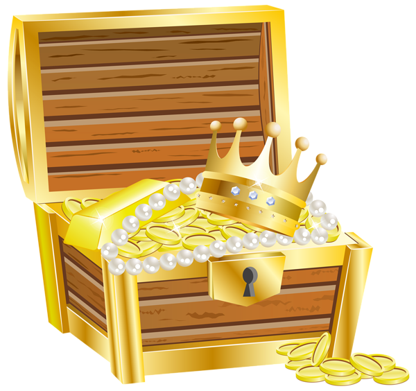 graphic transparent Chest clipart treasure room. With gold transparent png.