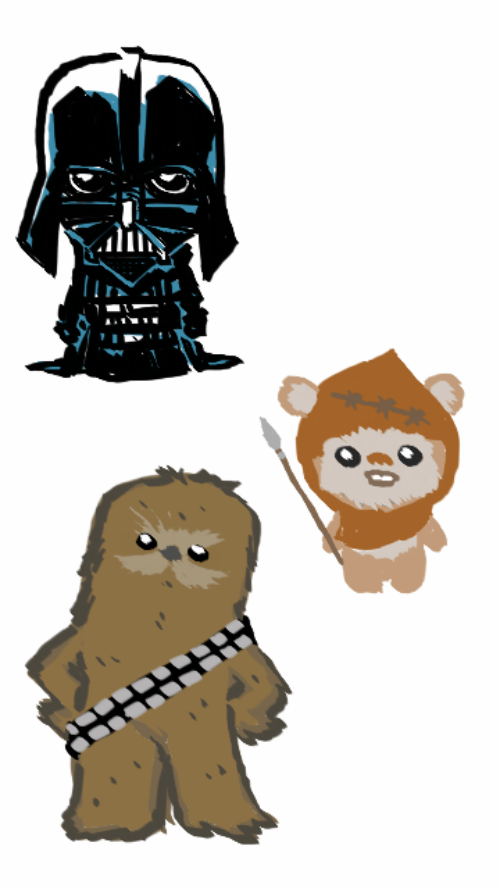 svg freeuse Starwars wicketwarrick darthvader doodles. Chewbacca clipart ewok