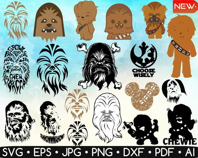 vector black and white stock Chewbacca clipart printable. Image disney star clip.