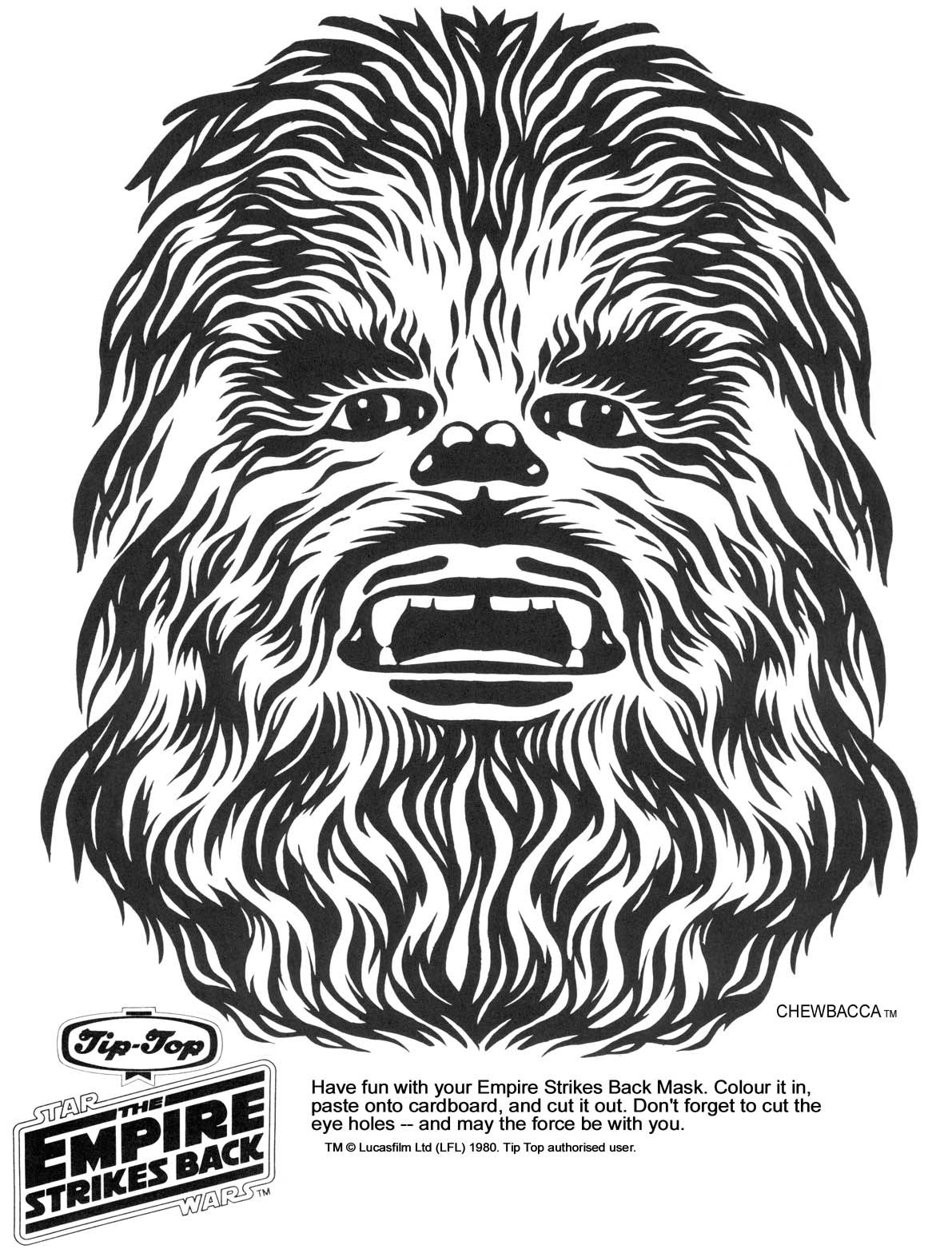 free library Coloring page masks google. Chewbacca clipart printable.
