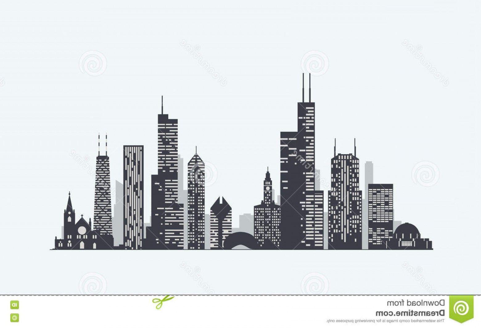 clip art royalty free stock Chicago art stock illustration. Skyscraper vector silhouette.