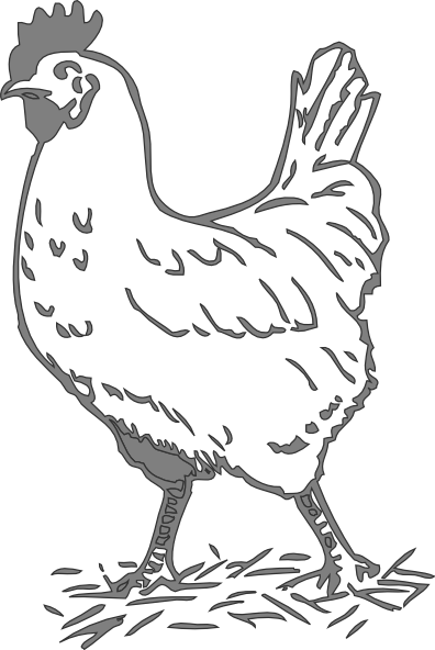 svg freeuse library Gray hen clip art. Chicken clipart black and white