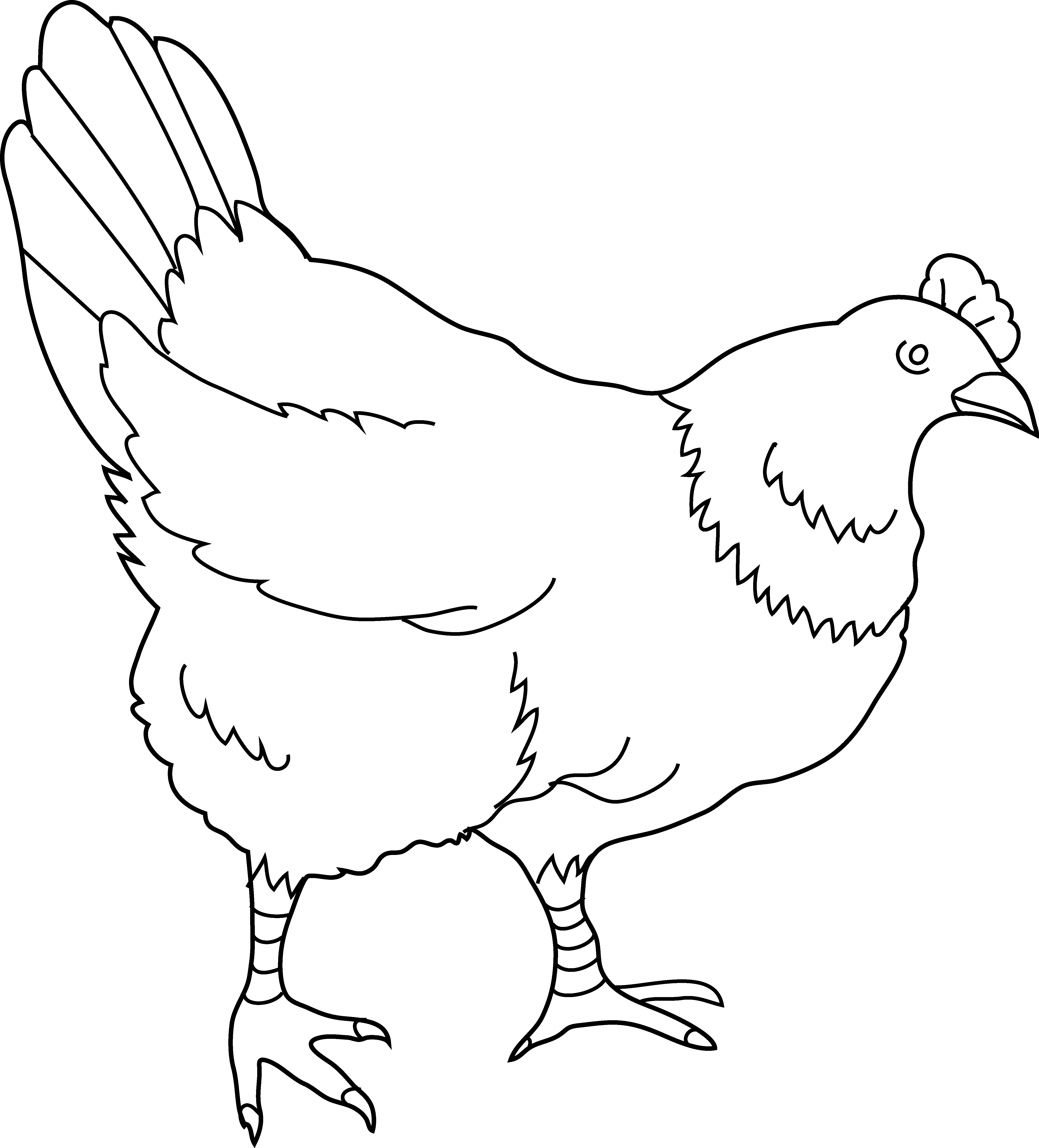 svg free library Coloring page free clip. Hen clipart black and white