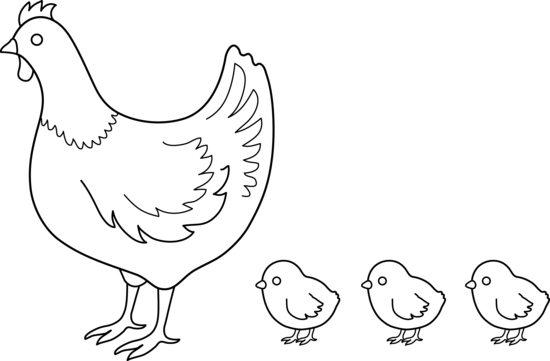 free library Chickens clipart line art. Hen and chicks coloring.