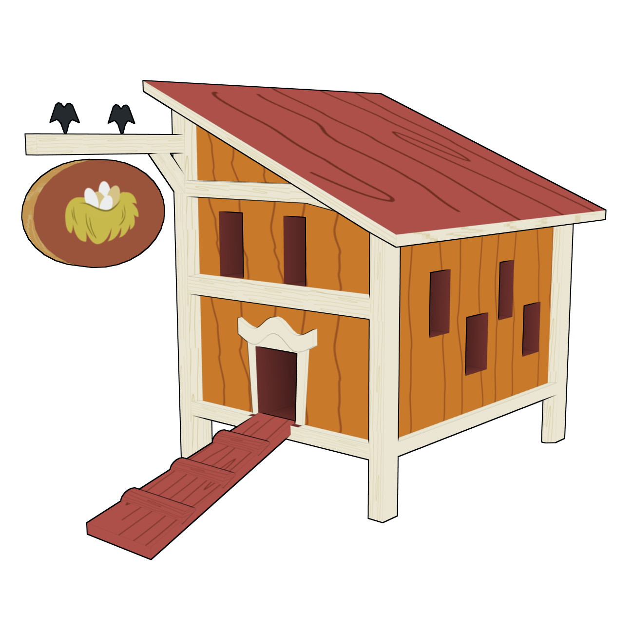 svg library stock Hen house clipart. Chicken coop paper farm.