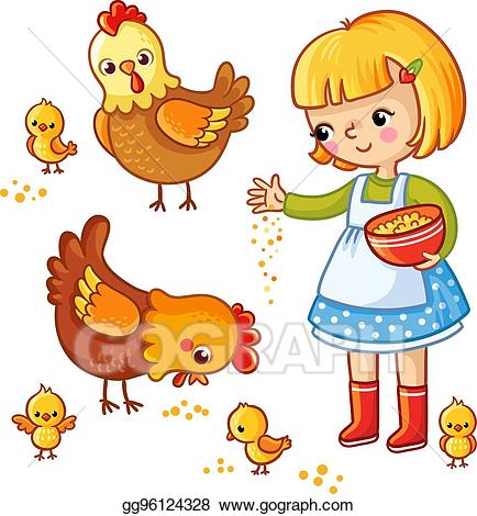 image stock Vector illustration girl feeding. Chickens clipart kid.