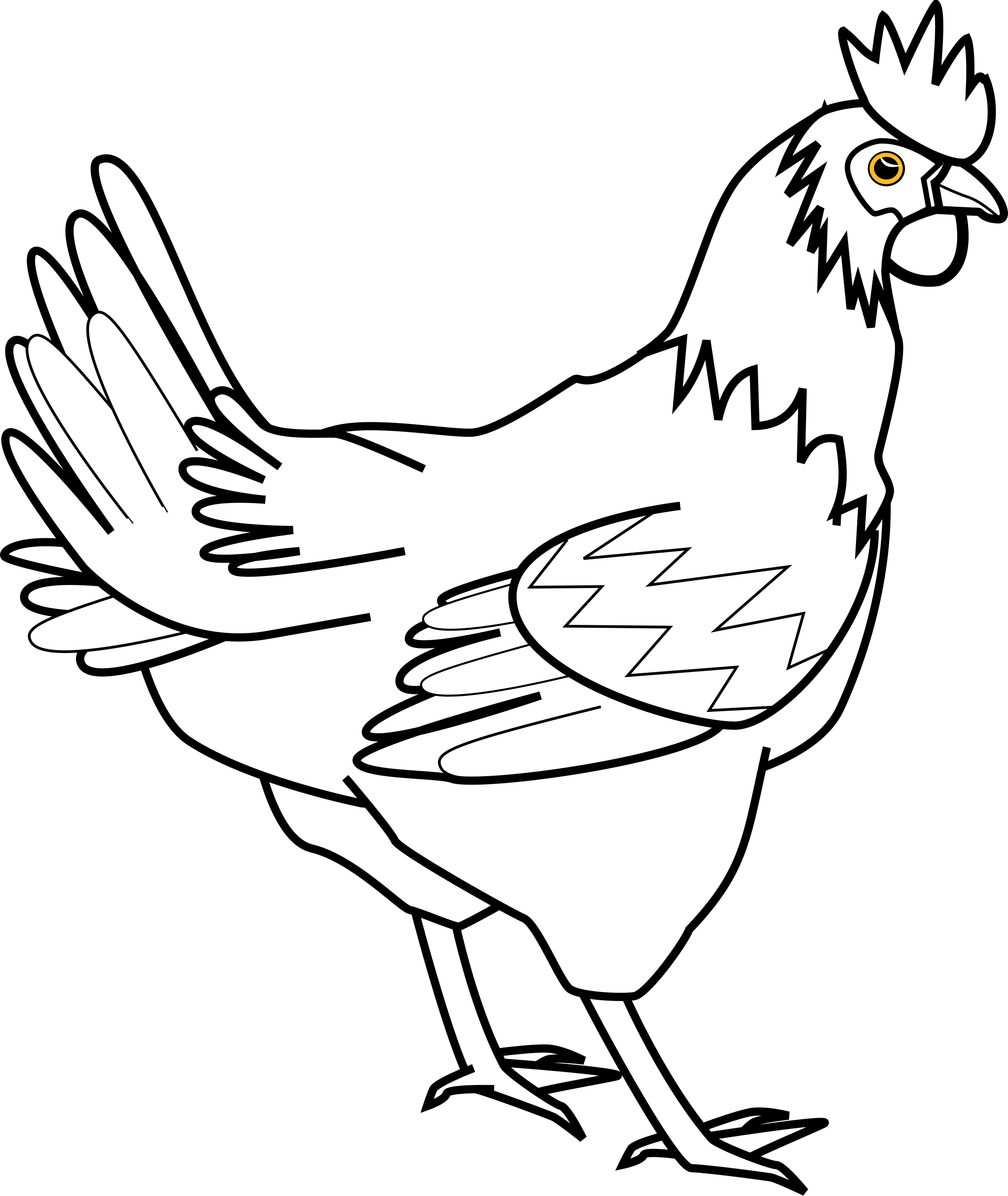 png black and white Chicken davidone big image. Chickens clipart line art.