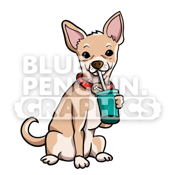 jpg freeuse library Drinking vector cartoon illustration. Chihuahua clipart.