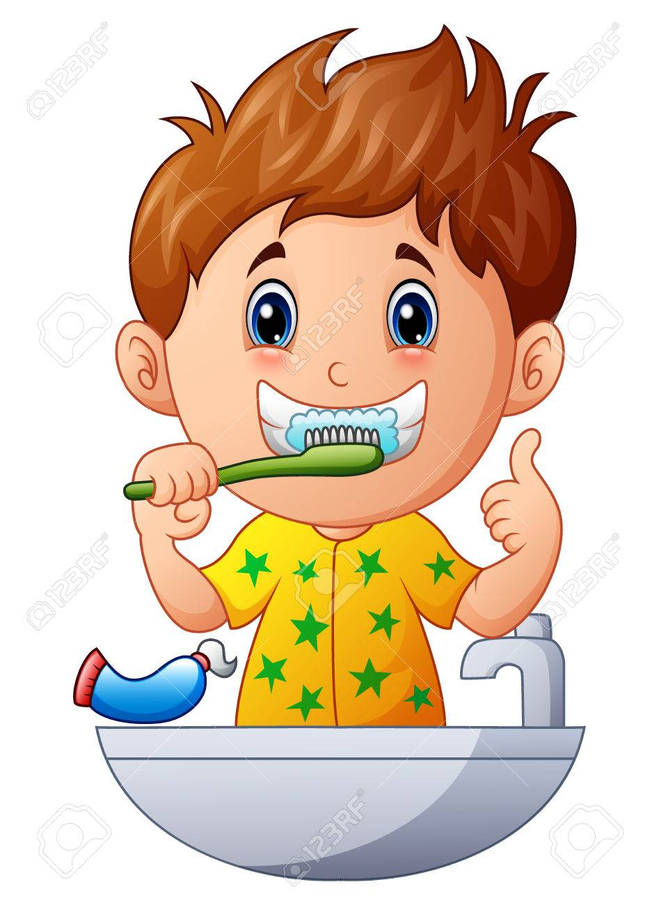 image black and white download Child station . Kids brushing teeth clipart