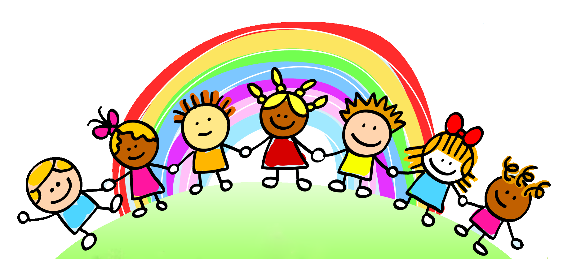 banner free stock Child care rainbow pre. Clipart for kids