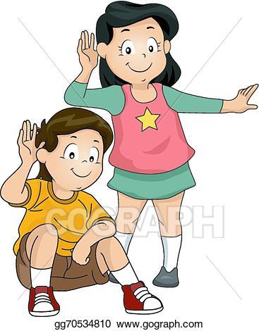 clip art freeuse download Vector stock illustration . Kids listening clipart