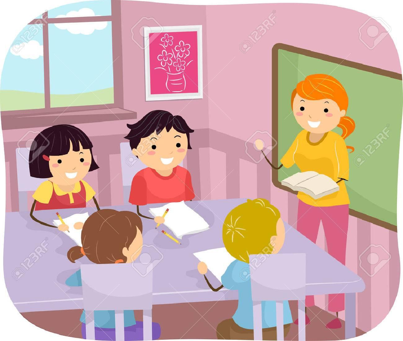 jpg download Kids listening to teacher clipart. Children station