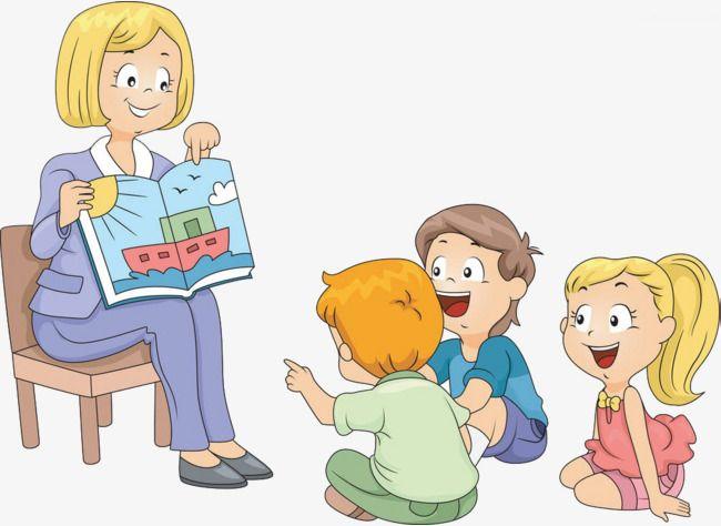 png free Kids listening clipart. Children listen to stories