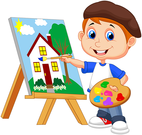 png black and white library Kids painting clipart at. Drawing store kid
