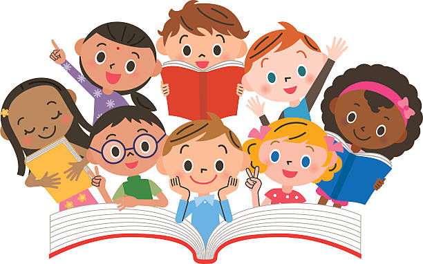 banner library stock Children collection of pictures. Kids reading clipart.