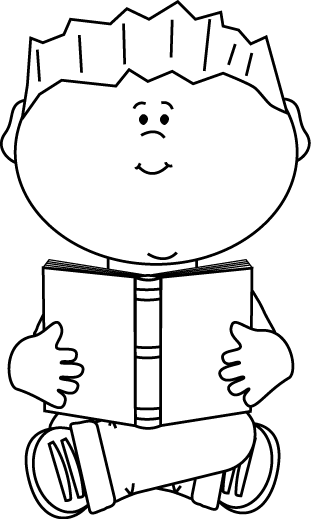 clip freeuse library Black and White Boy Sitting and Reading a Book Clip Art