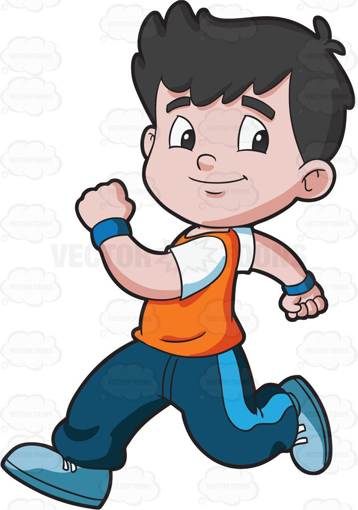 black and white Free download best . Kid running clipart