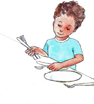 png free download Child cartoon illustration . Kid set table clipart
