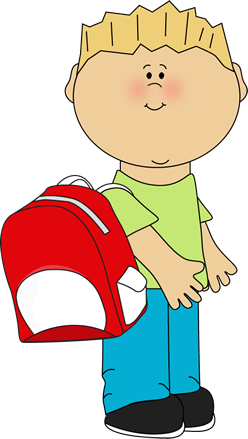 png library library School boy wearing a. Children clipart backpack.