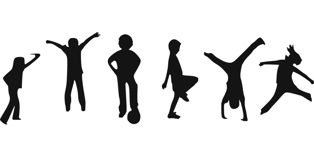 graphic black and white stock  collection of fitness. Kids working out clipart