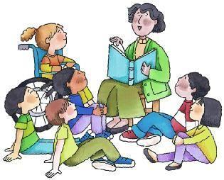 graphic Kids listening to teacher clipart. Children classroom bulletin