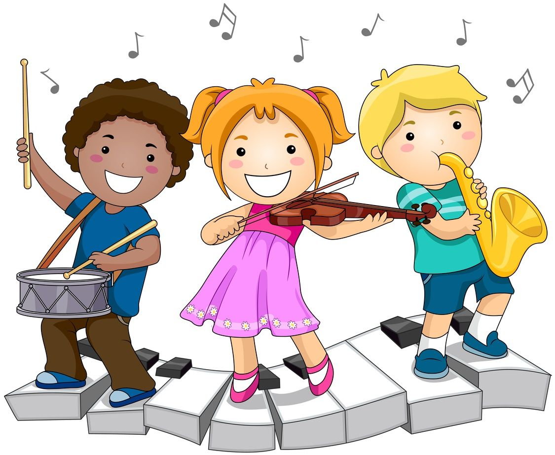 image free stock Kids music clipart.  children playing musical