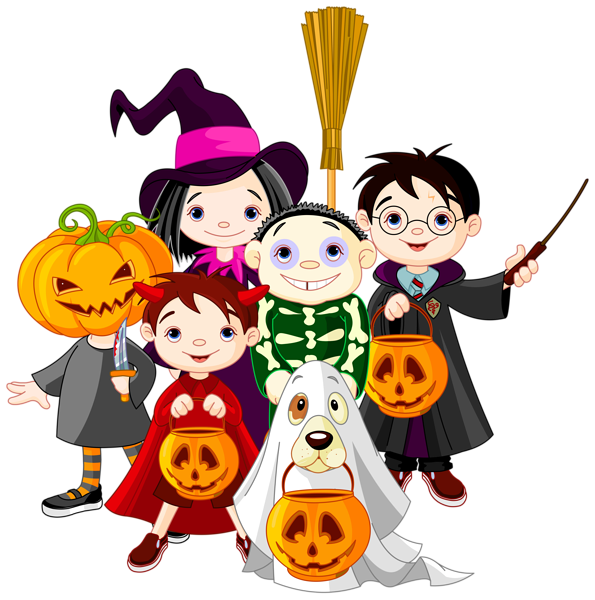 graphic transparent stock Kids trick or treating clipart. Halloween png clip art