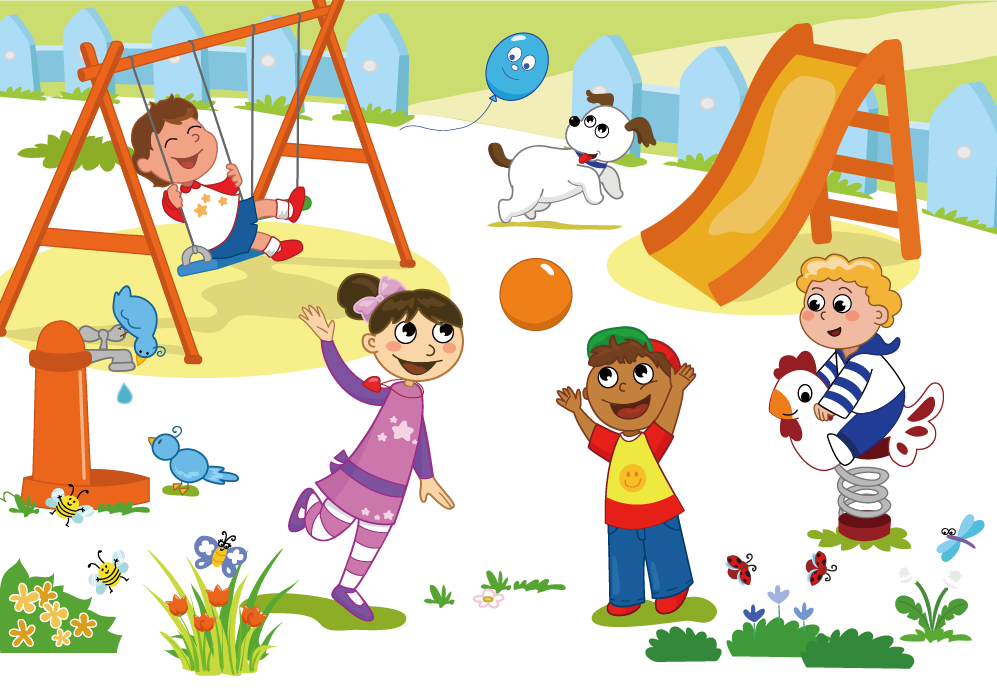 jpg royalty free stock Schoolyard child clip art. Kids playing on playground clipart