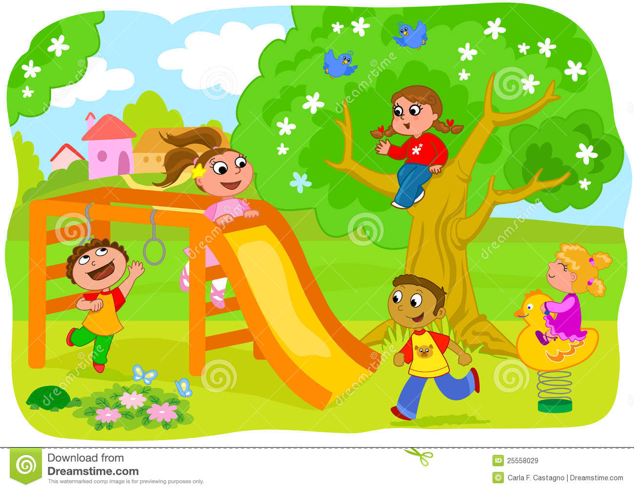 clipart royalty free library Kids playing on playground clipart. Station