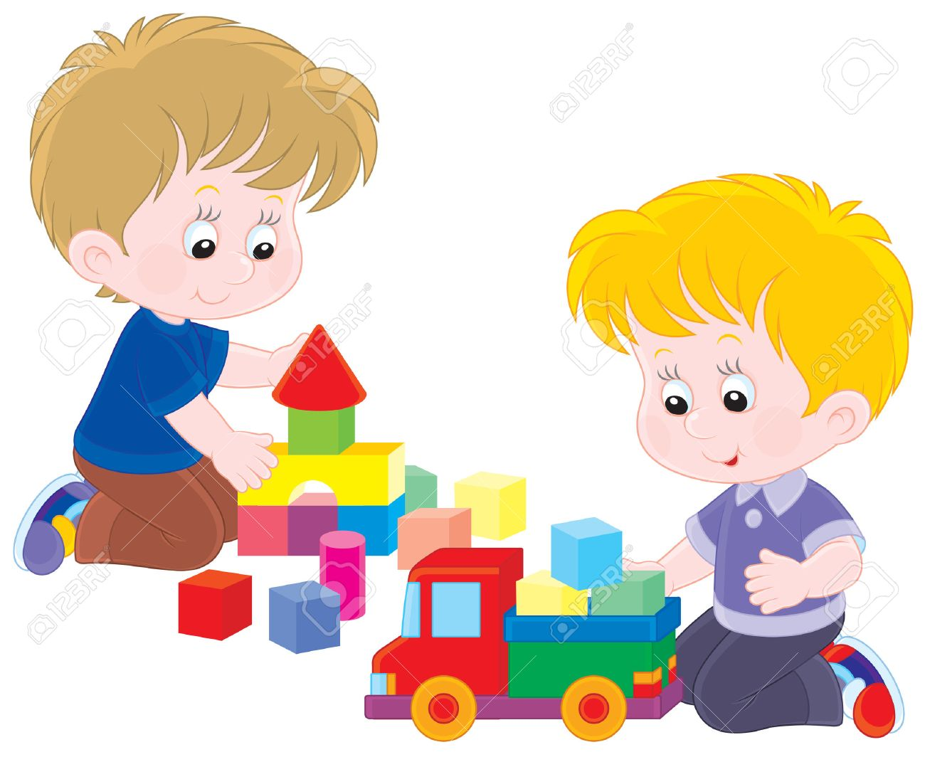 image royalty free library Children station . Kids playing with toys clipart.