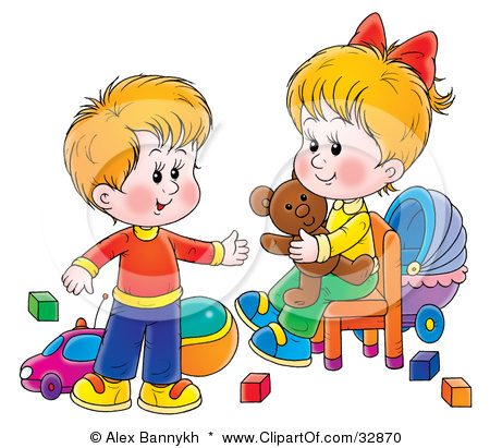 vector black and white Kids sharing toys clipart.  clip art clipartlook