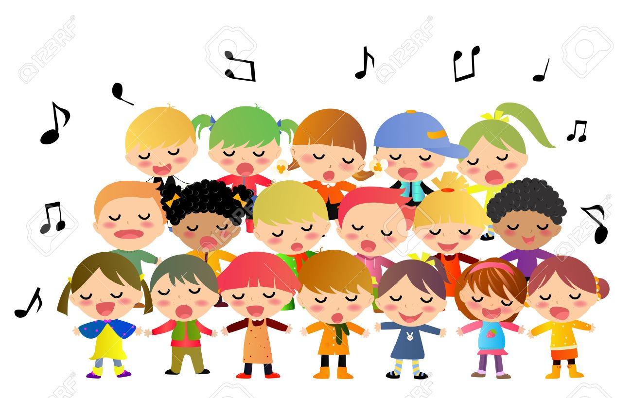 banner black and white library Free download best . Kids singing clipart