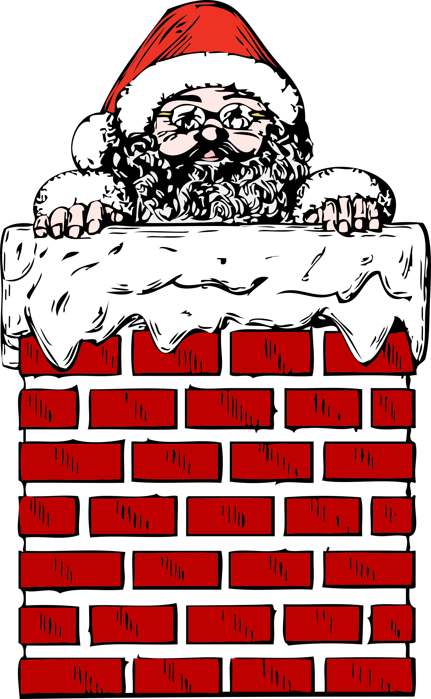 picture stock Chimney clipart. Santa in a big